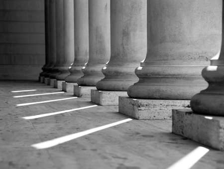 strong base: Ionic columns at Palace of the Legion of Honor in San Francisco (black and white). Stock Photo