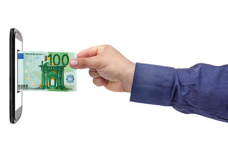 withdrawing: Hand withdrawing 100 euro Banknote from screen smartphone isolated