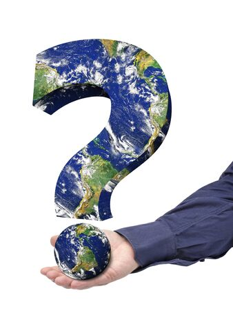 cataclysm: Businessman hand palm holding big question mark Earth Isolated Stock Photo