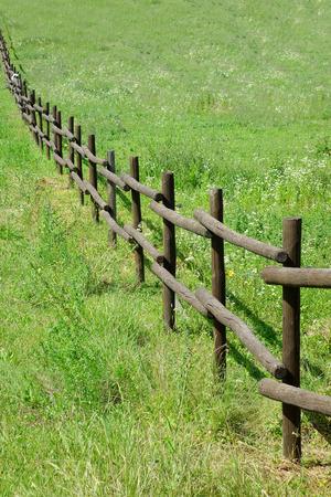 緑のフィールドで木製フェンス