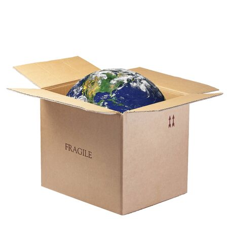 shipped: Planet Earth inside Open Box Fragile Isolated