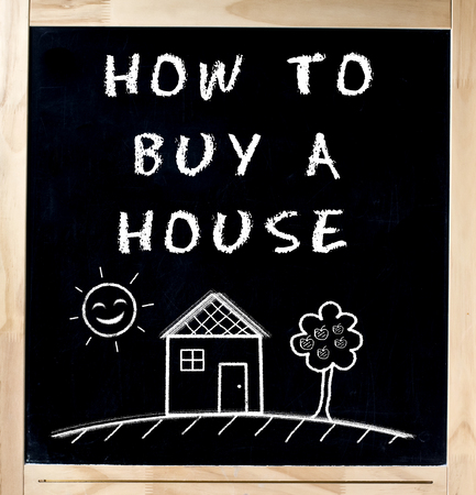 suggestions: How to buy a house handwritten with basic drawing on blackboard isolated Stock Photo