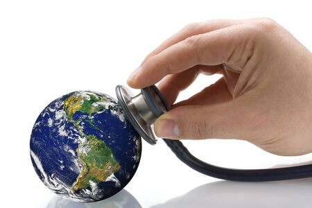 provided: Hand with phonendoscope auscultating planet earth. Earth image provided by NASA Stock Photo