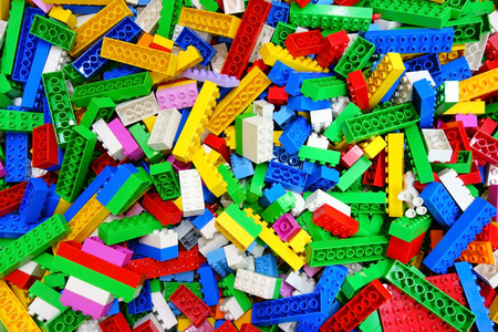 Top view heap Lego building bricks Childhood Toy 스톡 콘텐츠