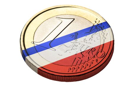 french flag: Euro coin with french flag on it isolated