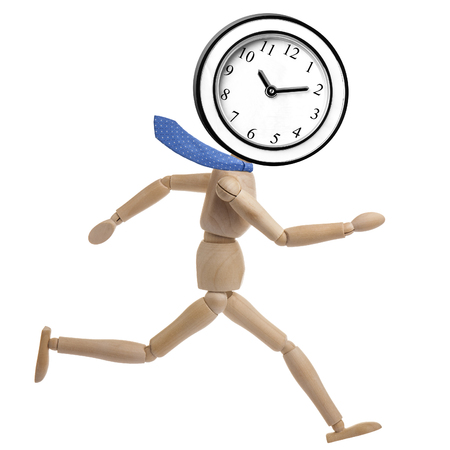 rushed: Wooden businessman mannequin running with a wall clock instead of head isolated Stock Photo
