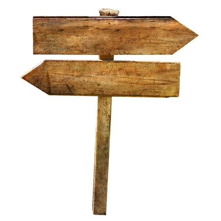 Twee lege houten directionele tekenen pijlen kruispunt geïsoleerde Stockfoto