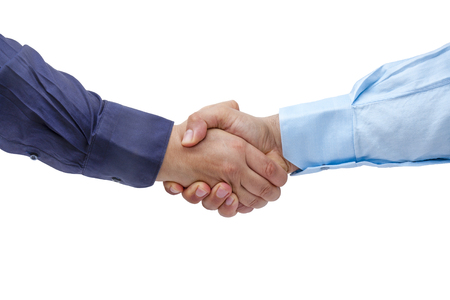 concordance: Businessmen firmly handshaking isolated