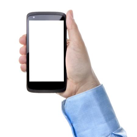 portrait orientation: Businessman hand holding smartphone with blank screen isolated portrait orientation