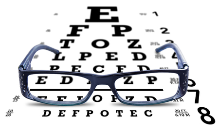 Glasses on eye chart vision test on white