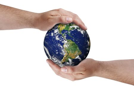 provided: Hands on earth globe isolated. Earth image provided by NASA