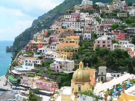 positano: Positano summer time Naples Italy Stock Photo