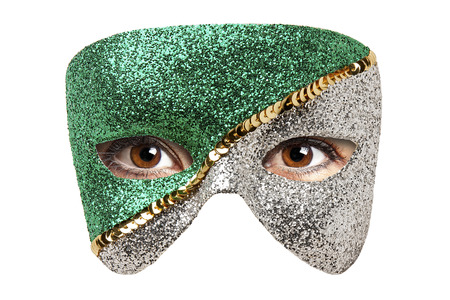 Femme Brown Eyes Behind Carnival mask isolated