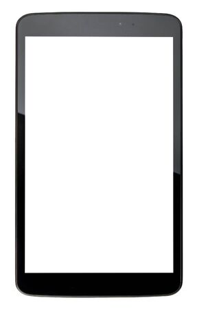 whitespace: Black tablet pc with blank white screen isolated