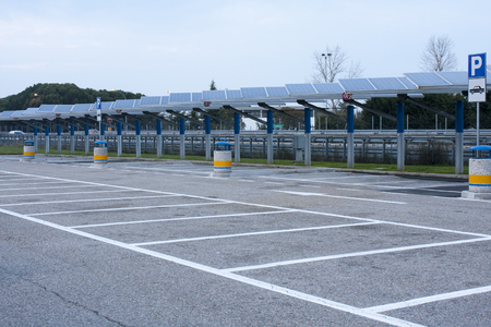 Empty Large Parking Lot with solar panels