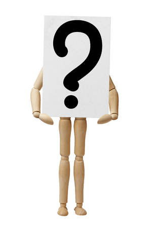 interrogative: Businessman Mannequin model dummy holding piece of paper with a question mark hiding face isolated Stock Photo
