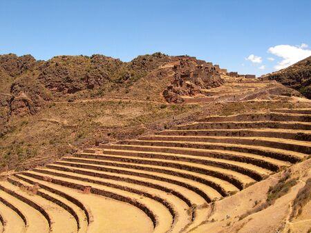 terracing: Pisac Inca Site Incan Ruins Peru Sacred Valley Stock Photo