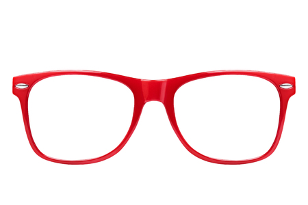 Front view pf red spectacles isolated Stock Photo