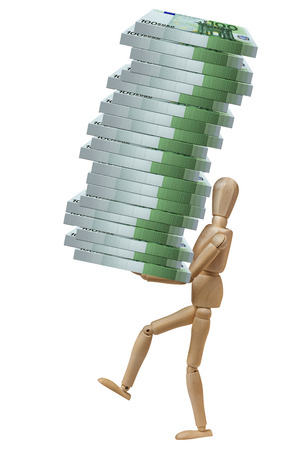 payola: Mannequin model dummy carrying pile of packs of 100 euro banknotes isolated Stock Photo