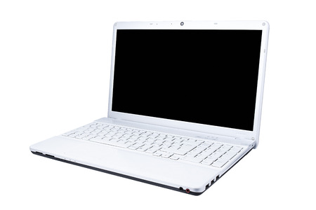 computer isolated: White Computer laptop blank screen three-quarters view isolated Stock Photo