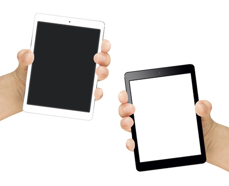portrait orientation: Female hand holding tablet portrait orientation with black and white blank screen isolated Stock Photo