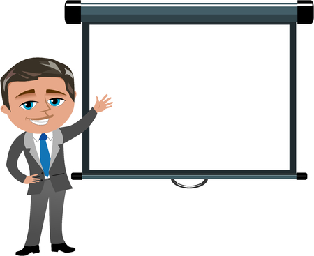 projector screen: Businessman Presenting Blank Projector Screen Isolated Illustration