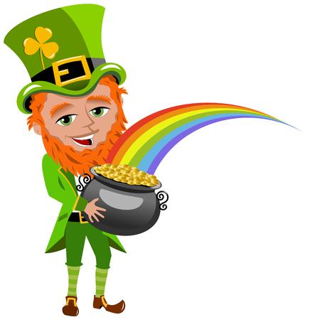 patron saint of ireland: Saint Patricks Day Leprechaun Holding Pot of Gold