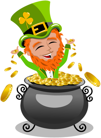 eire: St. Patrick exulting inside pot of gold isolated
