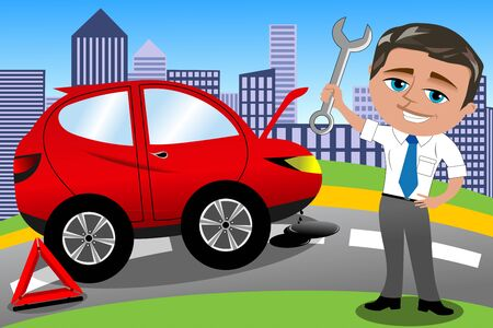 fixing: Smiling man fixing car isolated Illustration