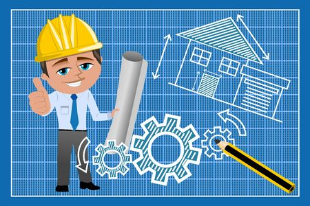 designer at work: Architect or engineer with thumb up against technical drawing on blueprint