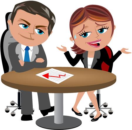 사업가 또는 영업 사원 격리 된 그녀의 상사에 나쁜 결과를보고 스톡 콘텐츠 - 44134697