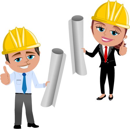 rolled: Woman and Man Architect or engineer with Thumb Up Isolated