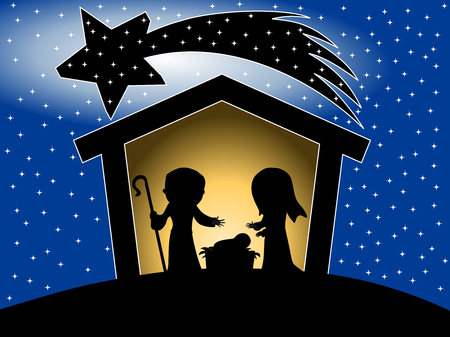 birthplace: Silhouette of Christmas nativity scene against starry sky background Illustration