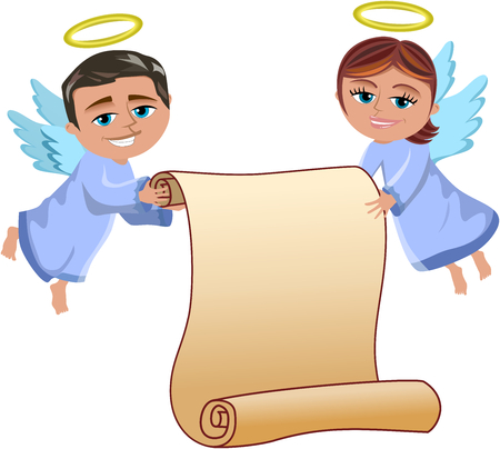 christmas angels: Christmas Angels Flying Holding Blank Parchment Isolated
