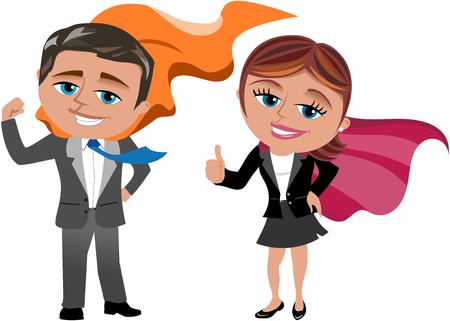 Businessman and businesswoman superhero isolated