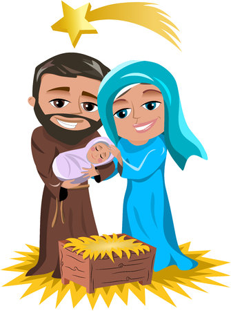 Christmas Nativity Scene featuring sacred family: joseph,little jesus and mary isolated