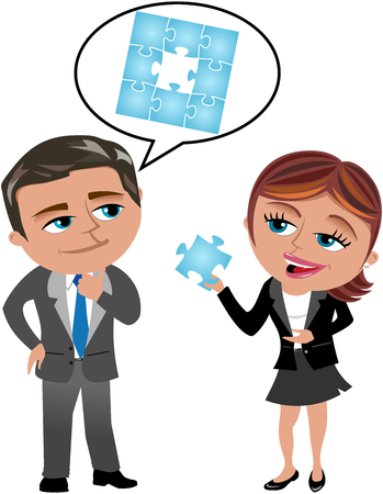 missing link: Businessman thinking how to solve a problem and businesswoman holding the right solution isolated Illustration