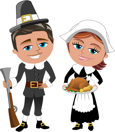 roast turkey: Pilgrims With Rifle and Roast Turkey Isolated