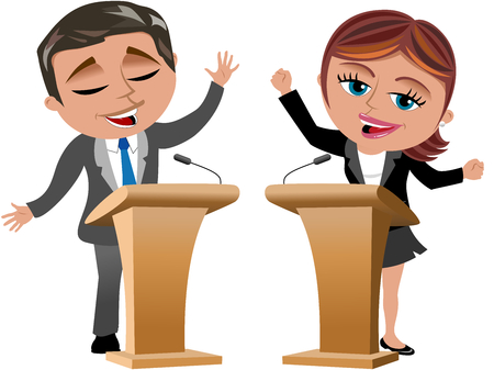 Businesswoman and businessman speaking from speaker stands isolated