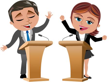 Zakenvrouw en zakenman spreken van luidsprekerstandaards geïsoleerde Stockfoto - 43789554