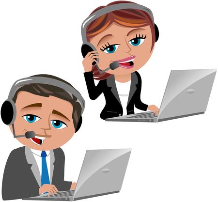 secretaria: Hombre y mujer que trabajan como operadores de call center aislados Vectores