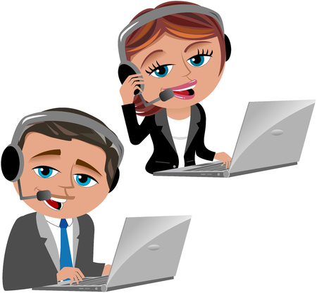 to the secretary: Man and woman working as call center operators isolated