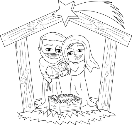 bethlehem christmas: Christmas Nativity Scene Coloring Page Illustration