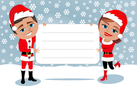 woman holding card: Man and Woman in Santa Claus costume holding white blank card on snowy background