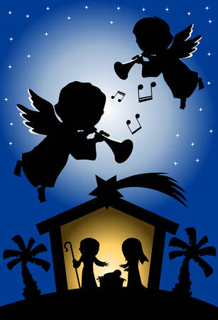 Silhouette of Christmas nativity scene against starry sky background where two angels are playing trumpet