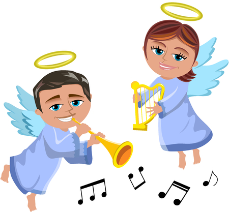 Christmas angels flying and playing trumpet and harp isolated