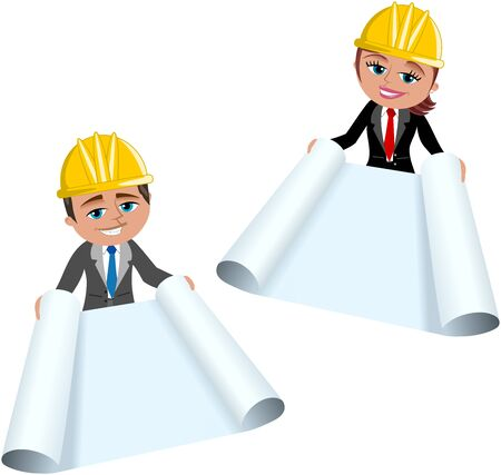 Woman and Man Architect or engineer showing blueprint isolated