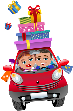 small car: Couple in small car with lots of shopping bags and shopping boxes: purchases of winter o Christmas season isolated Illustration