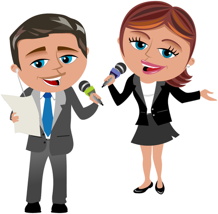 record breaking: Man and Woman Reporters reading and speaking at microphone isolated Illustration