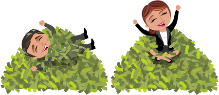 laid: Businessman and businesswoman siting and laid back on mountain of money isolated Illustration